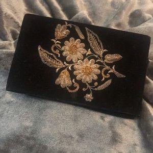 Vintage Black Velvet w/Gold Beading Clutch Purse